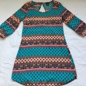 Colorful long sleeve cut-out back dress, sz Small